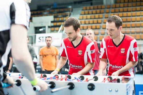 Stefan Schöb und Patrick Landolt, die letztjährigen Sieger des Turniers (Bild: Swiss Tablesoccer Finals)